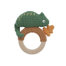 Crochet Rattle, Carley on ring – Moss Green