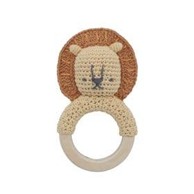 Sebra – Crochet Rattle, Lee on ring – Savannah Yellow