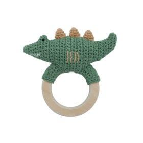 Crochet rattle, Ali on ring – Moss Green