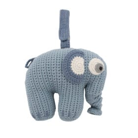Crochet Musical Pull Toy, Elephant – Powder Blue