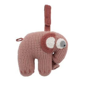 Crochet Musical Pull Toy, Elephant – Blossom Pink