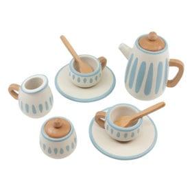 Sebra – Wooden Tea Set – Classic White/Dusty Teal