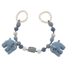 Crochet Pram Chain, Elephant – Powder Blue
