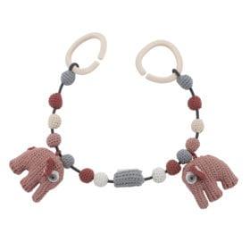 Crochet Pram Chain, Elephant – Blossom Pink