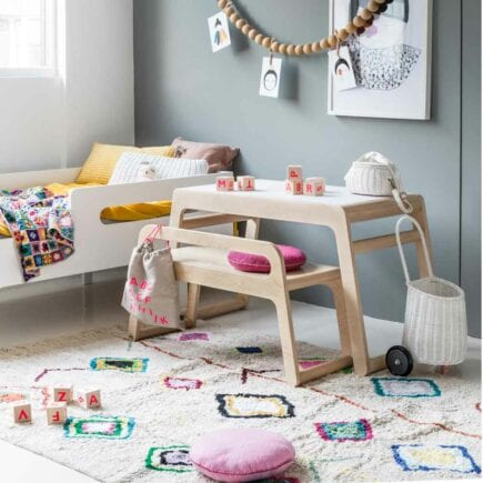 Rafa-kids - B Table and B Bench (90 cm) with backrest - Natural