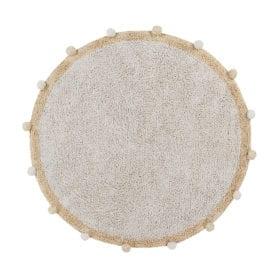 Waschbarer Teppich – Bubbly – Natur/Senfgelb – Ø 120 cm