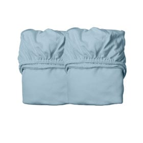 Leander – Sheets for Baby Cot, Organic – Dusty Blue (2pcs.) 60 x 120 cm