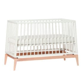 Luna – Baby Cot – White/Oak – 60 x 120 cm
