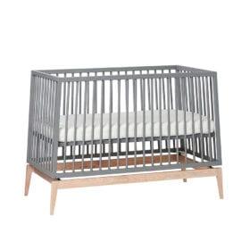 Leander – Luna Baby Cot – Grey/Oak – 70 x 140 cm
