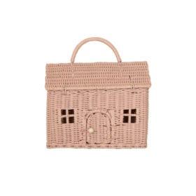 Rattan Tragekorb Puppenhaus – Rosa
