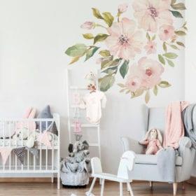 Wandsticker – Botanische Pastell Magnolie – Set L