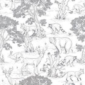 Dekornik – Wallpaper – Animals White – 100 x 280 cm