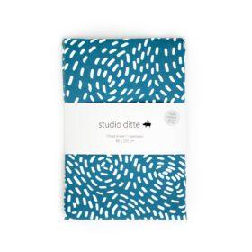 Studio Ditte – Hoeslaken – Flow Blauw – 90 x 200 cm