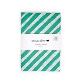 Studio Ditte – Hoeslaken – Strepen Groen/Lichtblauw – 90 x 200 cm