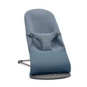 BabyBjörn – Wipstoeltje Bliss – Donkergrijs Frame – 3D Jersey – Dove Blue