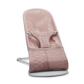 BabyBjörn –  Baby Bouncer Bliss – Light Grey Frame – Mesh – Dusty Pink