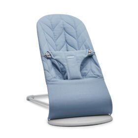 BabyBjörn –  Baby Bouncer Bliss – Light Grey Frame – Petal Quilt – Blue