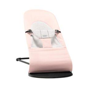 BabyBjörn –  Baby Bouncer Soft – Black Frame – Cotton/Jersey – Light Pink/Grey